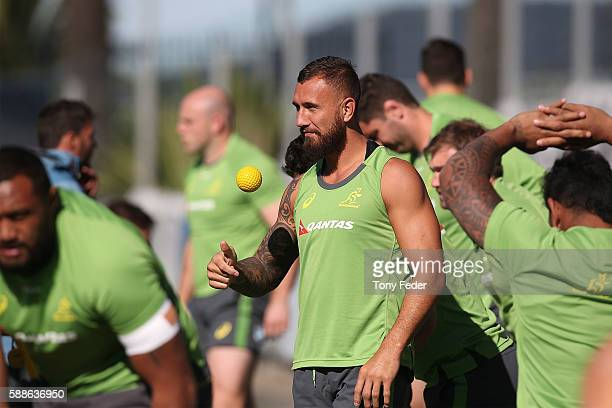 Quade Cooper of the Wallabies during an Australian Wallabies training session at Central Coast Stadium on August 12 2016 in Gosford Australia