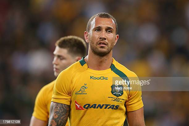 Quade Cooper of the Wallabies looks dejected after defeat during The Rugby Championship match between the Australian Wallabies and the South African...