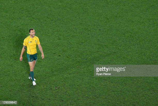 Quade Cooper of the Wallabies looks on dejected during semi final two of the 2011 IRB Rugby World Cup between New Zealand and Australia at Eden Park...