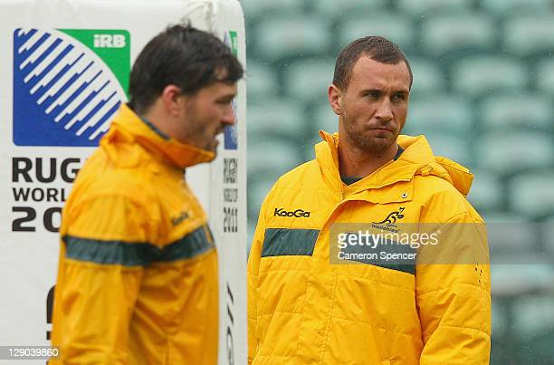 Quade Cooper of the Wallabies looks on during an Australia IRB Rugby World Cup 2011 training session at North Harbour Stadium on October 12 2011 in...