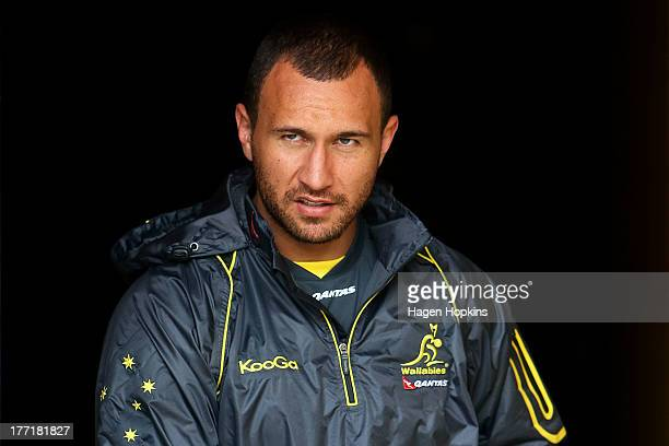 Quade Cooper of the Wallabies looks on during an Australian Wallabies training session at Porirua Park on August 22 2013 in Wellington New Zealand