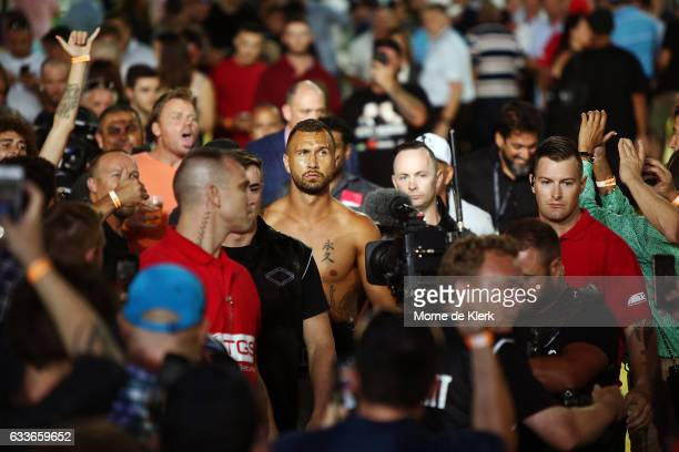Quade Cooper prepares for his heavyweight bout with Jack McInnes at Adelaide Oval on February 3 2017 in Adelaide Australia
