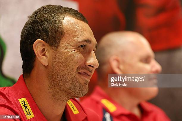 Quade Cooper speaks to media at a press conference to announce he is staying with the Queensland Reds at Ballymore Stadium on December 7 2012 in...