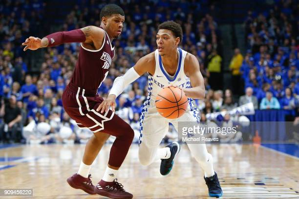 Quade Green of the Kentucky Wildcats drives to the basket against the Mississippi State Bulldogs during the first half at Rupp Arena on January 23...