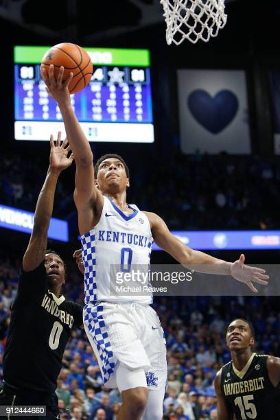 Quade Green of the Kentucky Wildcats makes a game winning layup with five seconds remaining against the Vanderbilt Commodores during the second half...