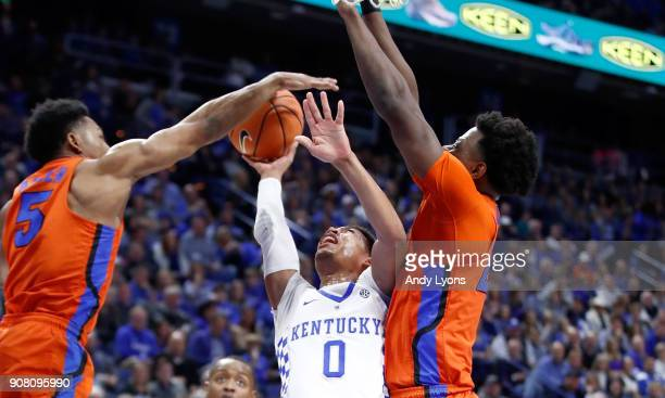 Quade Green of the Kentucky Wildcats shoots the ball against the Florida Gators during the game at Rupp Arena on January 20 2018 in Lexington Kentucky