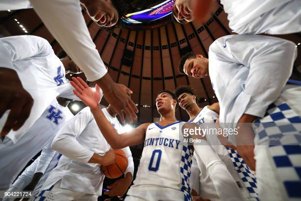 Quade Green of the Kentucky Wildcats speaks to his teamates before the game against the Monmouth Hawks at Madison Square Garden on December 9 2017 in...