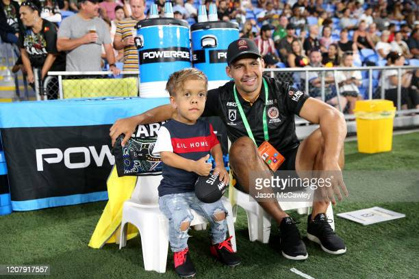 Quaden Bayles looks on with Cody Walker of the Indigenous All-Stars before the NRL match between the Indigenous All-Stars and the New Zealand Maori...