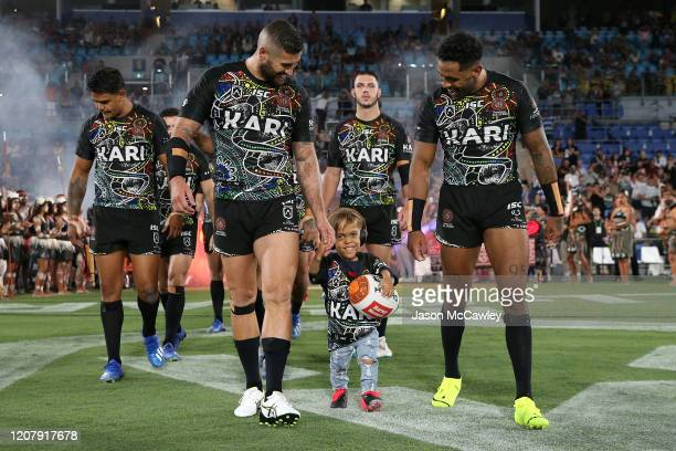 Quaden Bayles runs onto the field before the NRL match between the Indigenous All-Stars and the New Zealand Maori Kiwis All-Stars at Cbus Super...