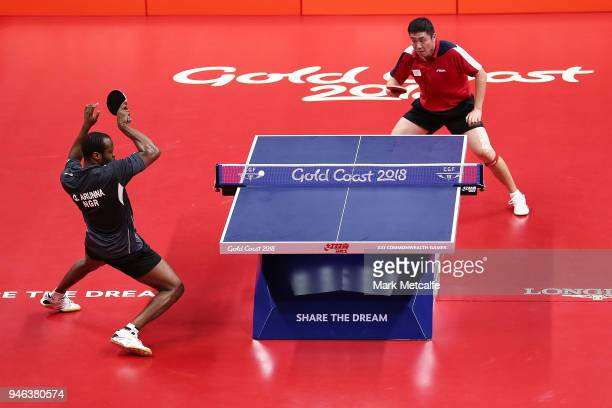Quadri Aruna of Nigeria competes against Ning Gao of Singapore in their Men's Singles Gold Medal Match during Table Tennis on day 11 of the Gold...