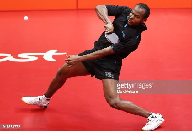 Quadri Aruna of Nigeria plays a shot in the Men's Singles Gold Medal Match against Ning Gao of Singapore during Table Tennis on day 11 of the Gold...