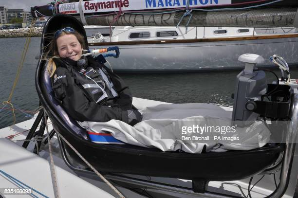 Quadriplegic disabled sailor Hilary Lister on board her specially equipped boat Artemis which is moored at Queen Anne's Battery Plymouth as the...