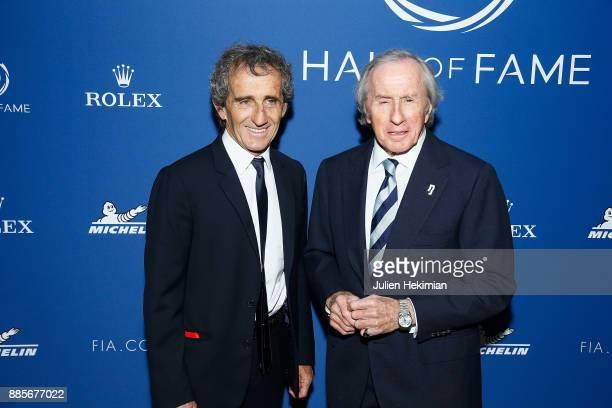 Quadruple World Champion Formula 1 Driver Alain Prost and triple World Champion Formula 1 Jackie Stewart attend the FIA Hall of Fame Induction...