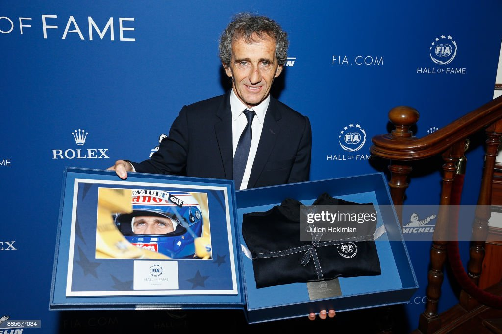 Quadruple World Champion Formula 1 Driver Alain Prost is pictured after being awarded during the FIA Hall of Fame Induction ceremony at Automobile Club De France on December 4, 2017 in Paris, France.