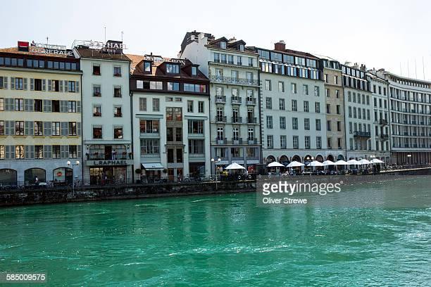 quai benzanson-hugues, geneva - geneva switzerland stock pictures, royalty-free photos & images
