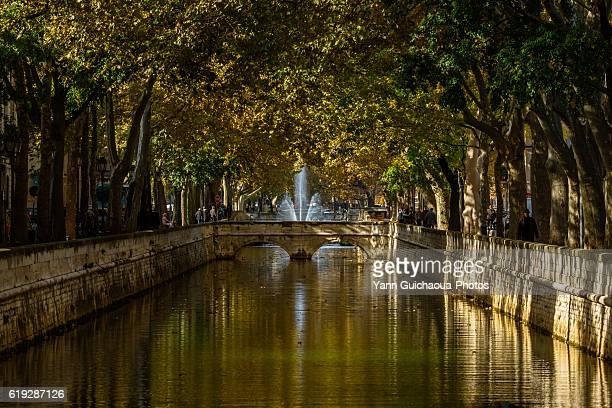 Quai de la Fontaine, Canal in the center of Nimes, Gard, France