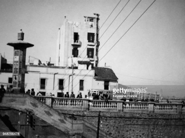 Quai de la gare maritime au Maroc espagnol, circa 1930 à Ceuta, Maroc.