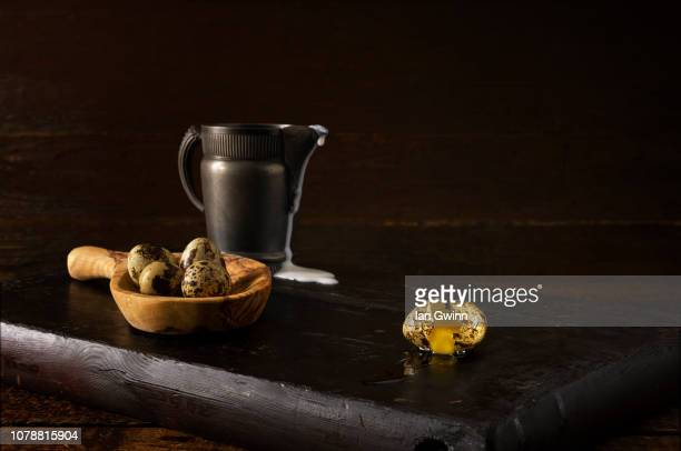 quail eggs and pitcher - ian gwinn stock photos and pictures