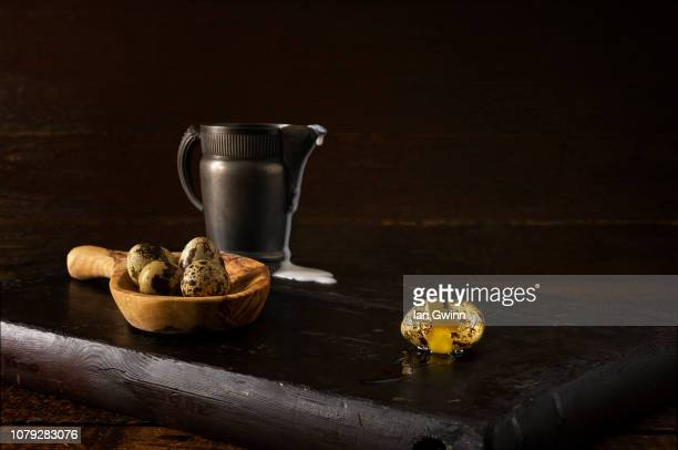quail eggs and pitcher_1 - ian gwinn stock photos and pictures