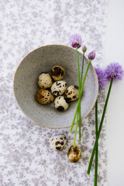 Quail Eggs with Chive blossoms