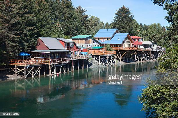 Quaint, colorful Houses and stores in 'Old Town' Seldovia Alaska