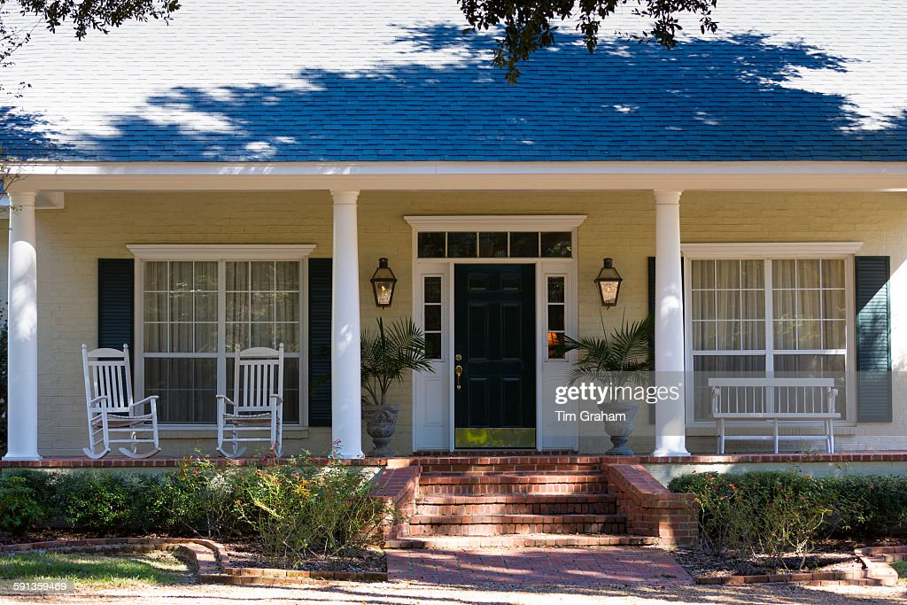 Marvelous Quaint Cottage Style House With Columns And Rocking Chairs Onthecornerstone Fun Painted Chair Ideas Images Onthecornerstoneorg