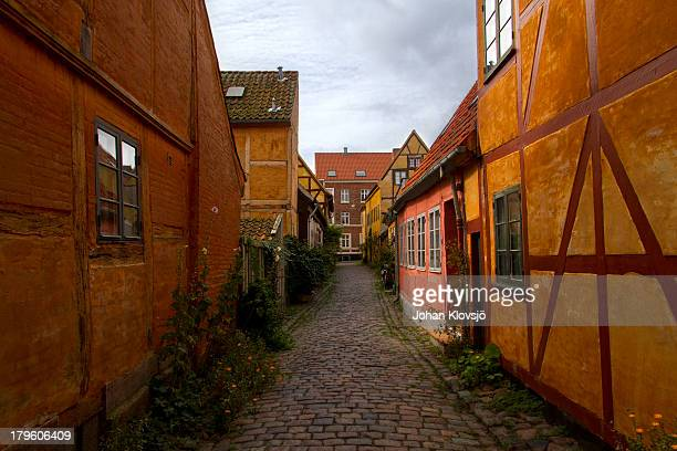 quaint old houses in helsingor, denmark. - helsingor stock pictures, royalty-free photos & images