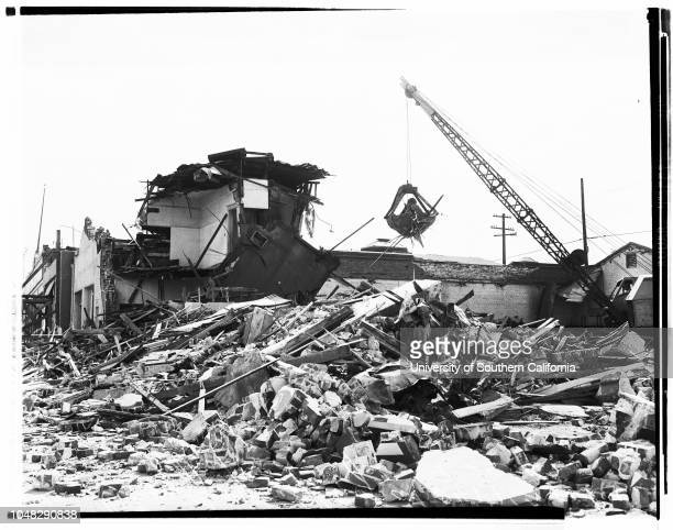 Quake rebuilding Bakersfield and Arvin California 25 September 1952 Miss Irene SolarzMiss Mary Hogan general views of rebuilding operationsCaption...