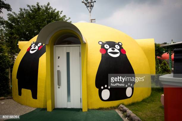 A Quakeproof dome house painted with Kumamon is seen in Aso Farm Land Kumamoto prefecture Japan July 31 2017