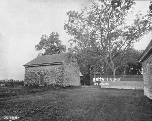 Quaker Meeting House Battlefield of Princeton New Jersey USA circa 1900 Stone building dating from 1760 From Scenic Marvels of the New World edited...