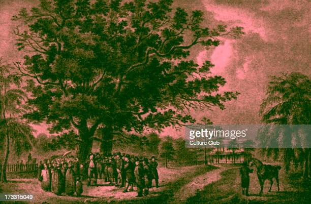 Quaker meeting in Flushing, Long Island, US . Tree beneath which George Fox once preached.