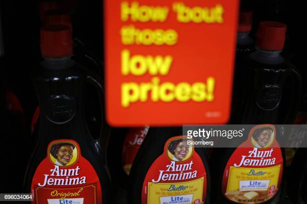 Quaker Oats Co Aunt Jemima brand pancake syrup is displayed for sale inside a Kroger Co grocery store in Louisville Kentucky US on Wednesday June 14...