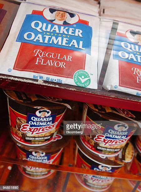 Quaker Oats oatmeal products sit on a shelf in New York on Tuesday, July 12, 2005.