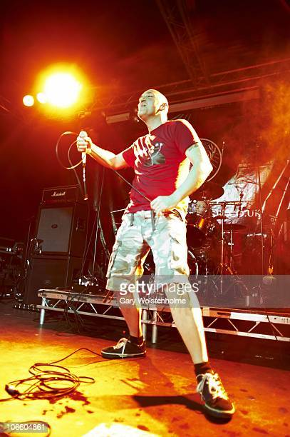 Qualcast Mutilator of Lawnmower Deth performs on stage during Damnation Festival at Leeds University on November 6 2010 in Leeds England