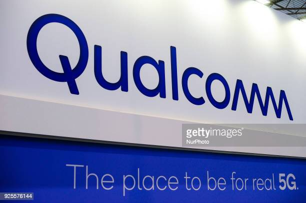 Qualcomm logo at Qualcomm pavilion during theMobile World Congress day 3 on February 28 2018 in Barcelona Spain