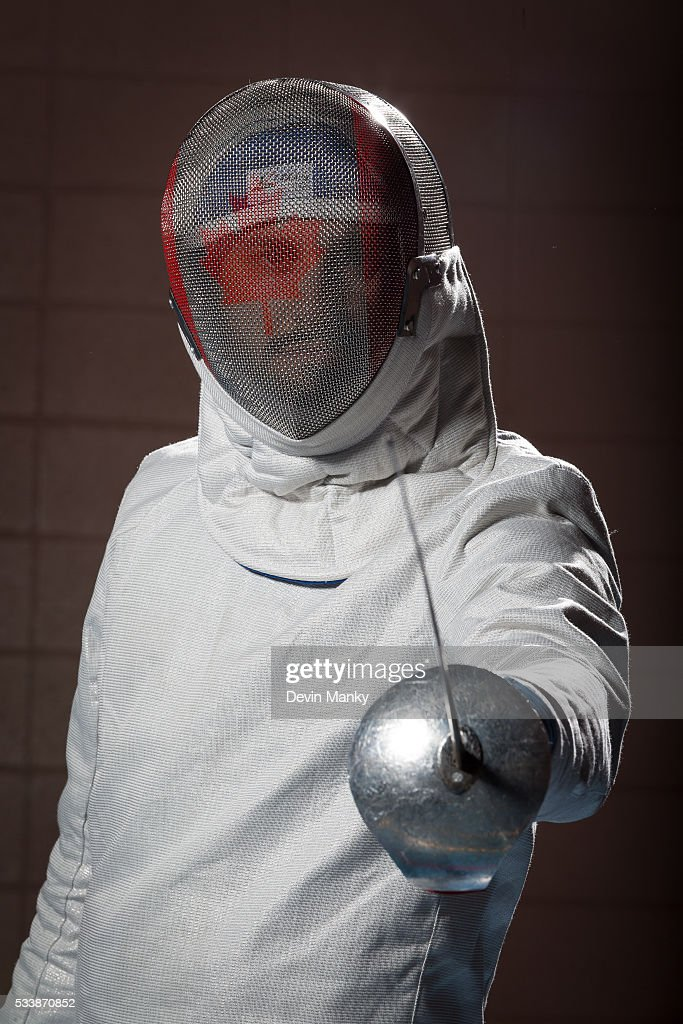 Qualified Rio Men's Sabre Olympian Joseph Polossifakis poses for photos on May 23, 2016 at the Canadian National Fencing Championships at Centre Sportif Cegep Edouard-Montpetit in Longueuil, Quebec, Canada.
