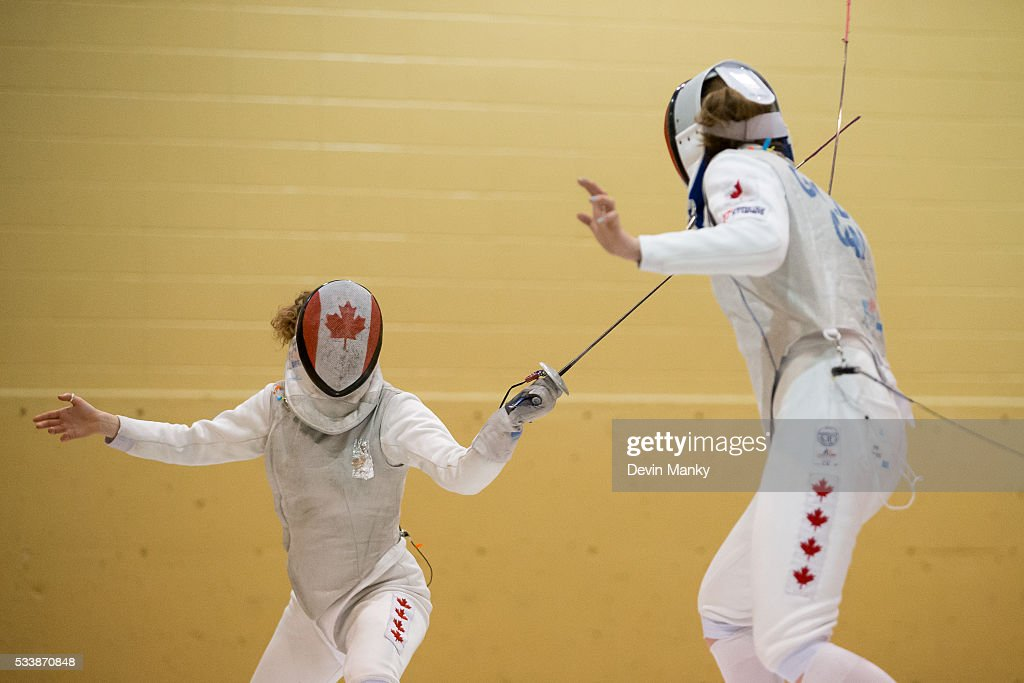 Qualified Rio Olympian Eleanor Harvey (left) fences Alanna Goldie in the final of the Senior Women's Foil event on May 23, 2016 at the Canadian National Fencing Championships at Centre Sportif Cegep Edouard-Montpetit in Longueuil, Quebec, Canada.