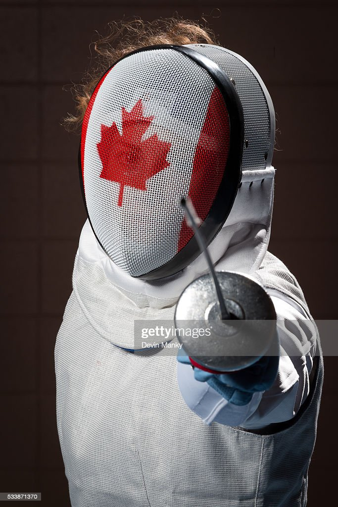 Qualified Rio Women's Foil Olympian Eleanor Harvey poses for photos on May 23, 2016 at the Canadian National Fencing Championships at Centre Sportif Cegep Edouard-Montpetit in Longueuil, Quebec, Canada.