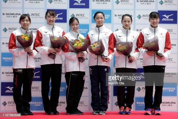 Qualified trampoline gymnasts Chisato Doihata Hikaru Mori Reina Satake Megu Uyama Ayano Kishi and Yumi Takagi pose after the Women's competition of...