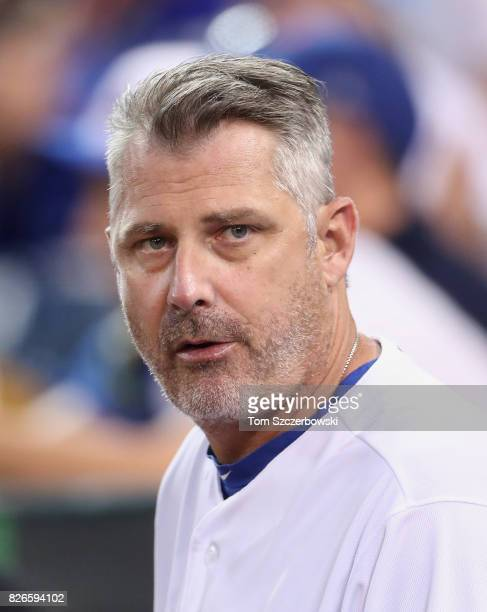 Quality control coach Derek Shelton of the Toronto Blue Jays looks on during MLB game action against the Los Angeles Angels of Anaheim at Rogers...