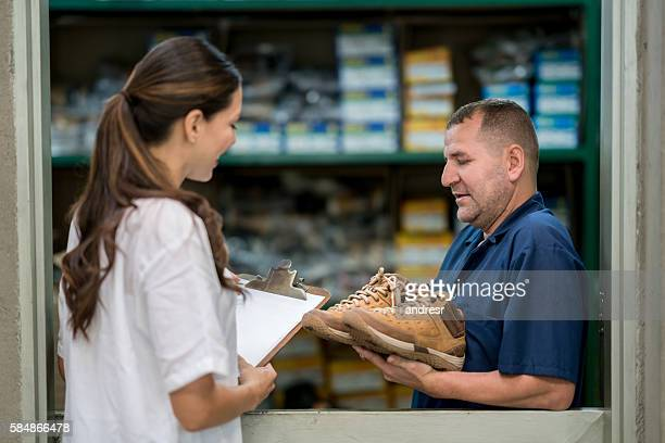 Quality control inspection at a shoe-making factory