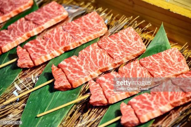 quality wagyu beef at tsukiji fish market, tokyo, japan - 韓国文化 ストックフォトと画像