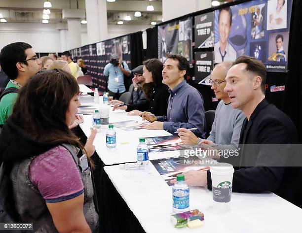 Qualls Alexa Davalos Rufus Sewell David Zucker and Brennan Brown attend The Man in the High Castle Meet Greet during the 2016 New York Comic Con Day...