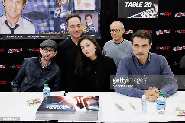 Qualls Brennan Brown Alexa Davalos David Zucker and Rufus Sewell attend The Man in the High Castle Meet Greet during the 2016 New York Comic Con Day...