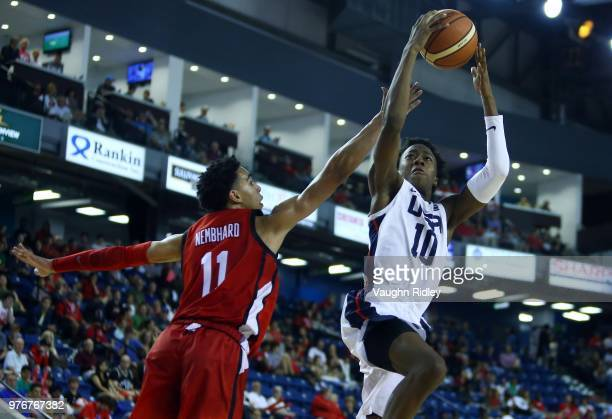Quamdeen Dosunmu of the United States shoots the ball as Andrew Nembhard of Canada defends during the Gold Medal final of the FIBA U18 Americas...