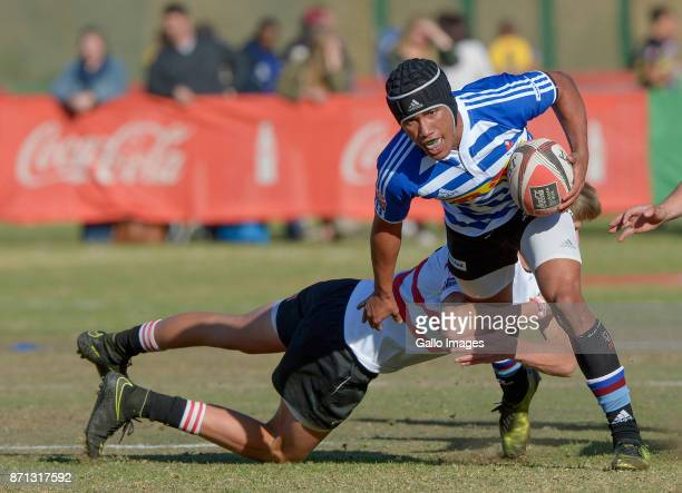 Quan Eymann of Western Province with ball possession against the Lions during day 3 of the 2017 U/18 CocaCola Craven Week at St Stithians College on...