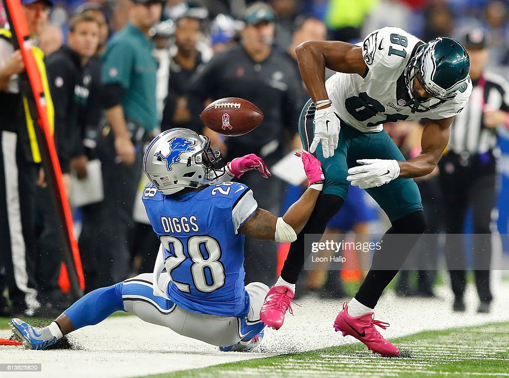 Quandre Diggs #28 of the Detroit Lions breaks up a pass intended for Jordan Matthews #81 of the Philadelphia Eagles during first half at Ford Field on October 9, 2016 in Detroit, Michigan.