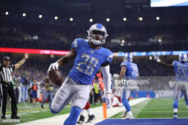Quandre Diggs of the Detroit Lions scores a touchdown during the second half against the Arizona Cardinals at Ford Field on September 10 2017 in...