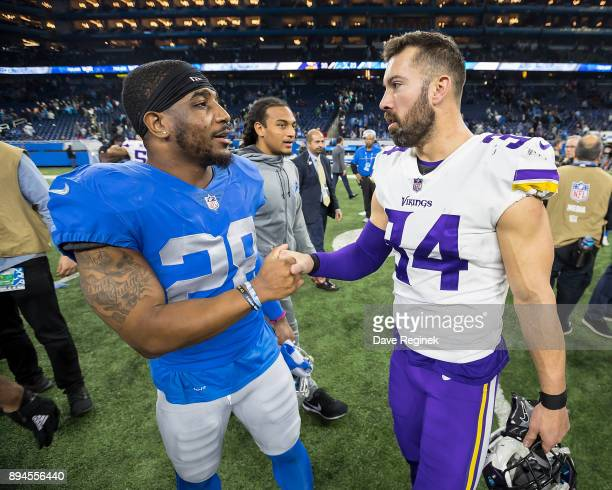 Quandre Diggs of the Detroit Lions talks to Andrew Sendejo of the Minnesota Vikings after an NFL game at Ford Field on November 23 2016 in Detroit...