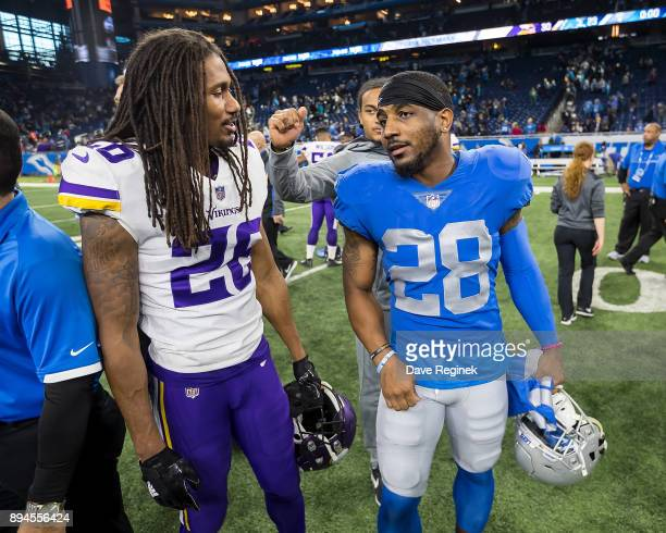 Quandre Diggs of the Detroit Lions talks to Trae Waynes of the Minnesota Vikings after an NFL game at Ford Field on November 23 2016 in Detroit...